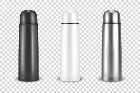 Vector réaliste 3d noir, blanc et argent vide métal brillant vide thermo gobelet flacon icon set gros plan sur fond de grille de transparence. Modèle de conception de maquette d'emballage pour les graphiques. Vue de face.