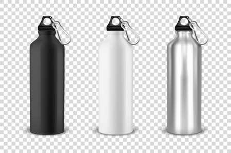 Vector realista 3d negro, blanco y plateado vacío metal brillante botella de agua con tapón negro icono conjunto closeup sobre fondo de cuadrícula de transparencia. Plantilla de diseño de maqueta de empaque para gráficos. Vista frontal.