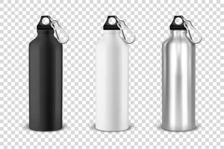 Vector realistic 3d black, white and silver empty glossy metal water bottle with black bung icon set closeup on transparency grid background. Design template of packaging mockup for graphics. Front view.