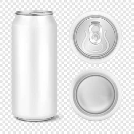 Vector realistic 3d empty glossy metal white aluminium beer pack or can visual 500ml. Can be used for lager, alcohol, soft drink, soda, fizzy pop, lemonade, cola, energy drink, juice, water etc. Icon set closeup isolated on transparency grid background. Design template of packaging mockup for graphics. Front, top and bottom view.