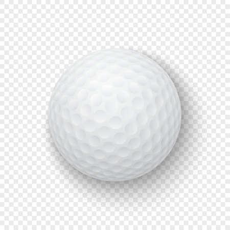 Vector realistische weiße weiße Golfball-Symbol-Nahaufnahme 3d lokalisiert auf Transparenzgitterhintergrund. Entwurfsvorlage für Grafiken, Modell. Draufsicht