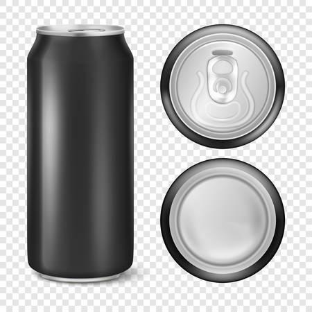 Vector realista 3d vacío metal brillante aluminio negro paquete de cerveza o puede 500 ml visual. Se puede utilizar para cerveza, alcohol, refrescos, gaseosas, gaseosas, limonada, cola, bebida energética, jugo, agua, etc. Conjunto de iconos de cerca aislado sobre fondo de cuadrícula de transparencia. Plantilla de diseño de maqueta de empaque para gráficos. Vista frontal, superior e inferior