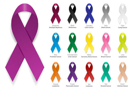 Cancer Ribbon. Vector realistic 3d awareness ribbon different color set closeup isolated on white background. International Day of cancer, World Cancer Day. Design template for graphics.