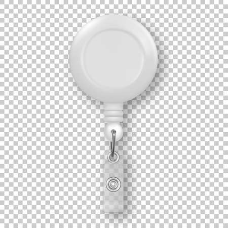 Vector realistic 3d white round reel holder clip for graphic Id Card badge closeup isolated on transparency grid background. Design template for mockup. Illustration