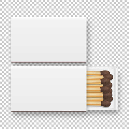 Vector 3d realistic closed and opened blank box of matches with brownheads icon set, closeup isolated on transparency grid background, top view, white heads. Design template, clipart for graphics Ilustração