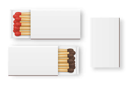 Vector 3d realistic closed and opened blank box of matches with brown and red heads icon set, closeup isolated on white background, top view, white heads. Design template, clipart for graphics