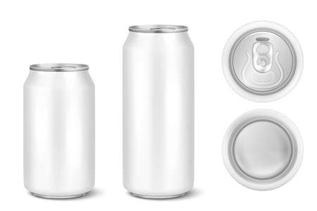 Vector realistic 3d white empty glossy metal black aluminium beer pack or can visual 330ml 500ml. Can be used for lager, alcohol, soft drink, soda, fizzy pop, lemonade, cola, energy drink, juice, water etc. Icon set closeup isolated onwhite background. Design template of packaging mockup for graphics. Front, top and back view