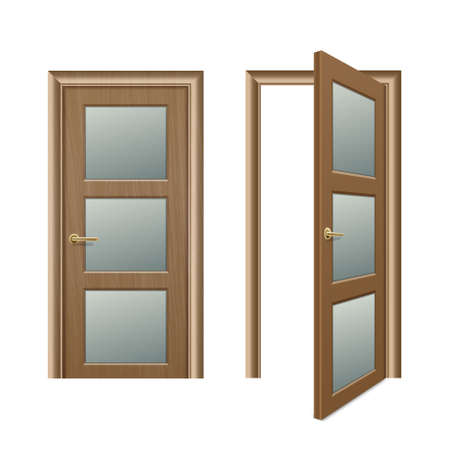 Vector realistic different opened and closed brown wooden door icon set closeup isolated on white background. Elements of architecture. Design template for graphics, Front view  イラスト・ベクター素材