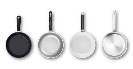 Vector 3d realista vacío negro, plata, antiadherente, esmalte, blanco, cubierta, superficie, sartén, icono, conjunto, en, vista superior, aislado, blanco, fondo. Plantilla de diseño para gráficos.