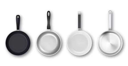 Vector realistic 3d empty black, silver, non-stick, enamel, white cover surface frying pan icon set in top view isolated on white background. Design template for graphics. Illustration