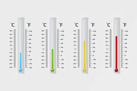 Vector realistic 3d celsius and fahrenheit meteorology, weather thermometer sign icon set closeup isolated on white background. Clip art, design template for graphics. Thermometers with different levels.