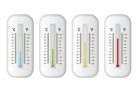 Vector realistic 3d celsius and fahrenheit meteorology, weather thermometer icon set closeup isolated on white background. Clip art, design template for graphics. Thermometers with different levels.