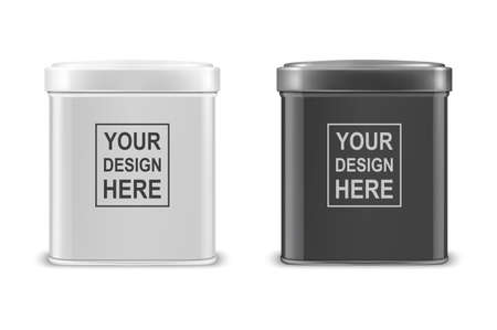 Vector realistic 3d white and black blank metal aluminium tea tin can container with cap rectangular or square shape icon set closeup isolated on white background.