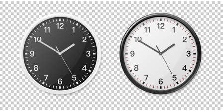 Realistic White and Black Wall Office Clock Icon Set. Design Template for Mockup, Graphics, Branding, Advertise. Wall Clock Mock-up Closeup Isolated on Transparent Background. Front or Top View