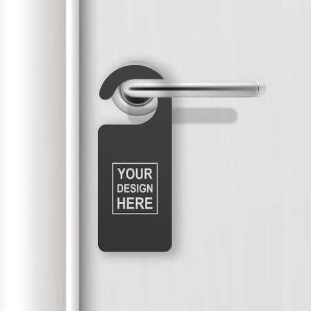 Vector realistic paper black blank door hanger on white realistic wooden door with metal silver handle. Door hanger mockup. Design template. Full length door is in a clipping mask