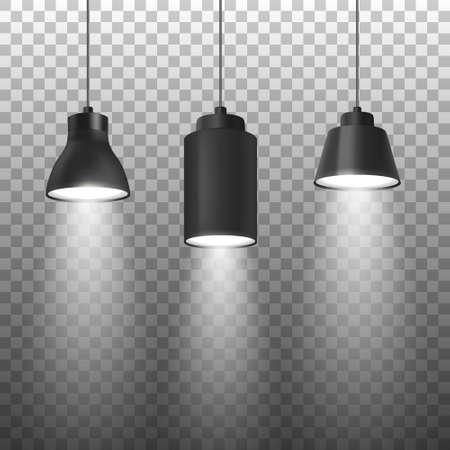 Focos negros 3d realistas del vector o lámpara de techo colgante fijada en el primer de la cuerda aislado en fondo transparente. Plantilla de diseño de lámparas de puntos brillantes con luz
