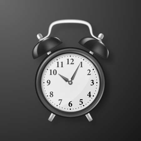 Vector Realistic 3d Black Retro Alarm Clock Closeup on Black Background. Design Template of Vintage Alarm Clock for Graphics, Banners, Advertise. Top View.