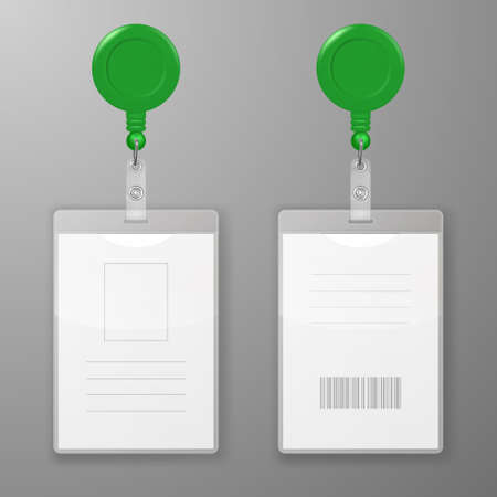 Realistic Blank Office Graphic Id Cards with Round Clasp Reel Holder Clip Closeup Isolated. Front, Back Side. Design Template of Identification Card for Mockup. Identity Card Mock-up. Top View