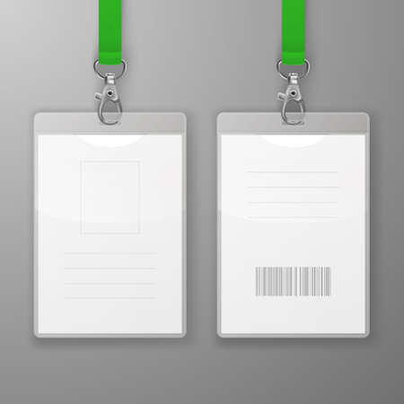 Two Realistic Blank Office Graphic Id Cards with Clasp and Lanyard Closeup Isolated. Front and Back Side. Design Template of Identification Card for Mockup. Identity Card Mock-up in Top View