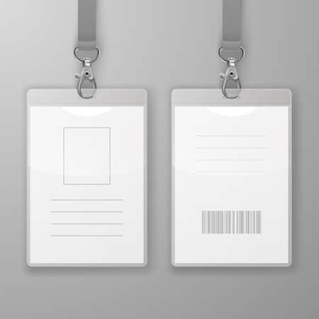 Two Vector Realistic Blank Office Graphic Id Cards with Clasp and Lanyard Closeup Isolated. Front and Back Side. Design Template of Identification Card for Mockup. Identity Card Mock-up in Top View.