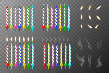 Vector 3d Realistic Different Birthday Party Colofful Wax Paraffin Whole, Burning and Extinguished Cake Candle Set with Flame, Smoke of a Candle Closeup isolated on Transparency Grid. Design Template.