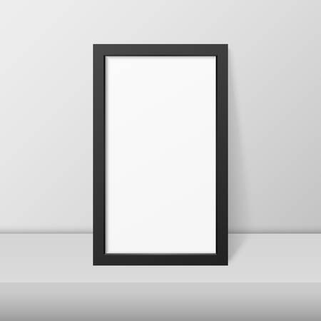 Vector 3d Realistic Modern Interior Black Blank Vertical Wooden Poster Picture Frame on Table, Shelf Closeup on White Wall, Mock-up. Empty Poster Frame Design Template for Mockup, Presentation. Illustration