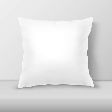 Realistyczne 3d biała poduszka zbliżenie na stole, zbliżenie półka na tle białej ściany, makieta. Ilustracje wektorowe