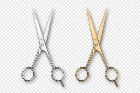 Vector 3d Realistic Silver and Gold Metal Opened Stationery Scissor Icon Set Closeup Isolated on Transparency Grid Background. Design Template of Classic Scissors for Graphics, Mockup. Top View.
