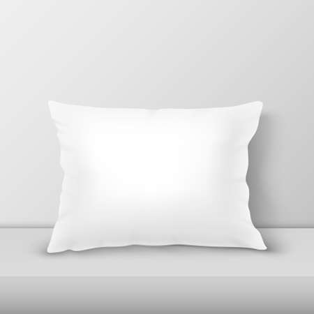 Realistic 3d White Pillow Closeup on Table, Shelf Closeup on White Wall Background, Mock-up. Ilustrace