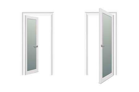 Vektor realistische verschiedene geöffnete und geschlossene weiße Holztür Icon Set Closeup isoliert auf weißem Hintergrund. Elemente der Architektur. Designvorlage der klassischen Haustür für Grafiken. Vorderansicht.