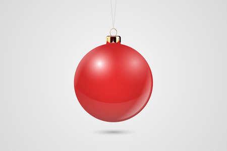 Vector realistische rode 3d kerst glanzende glazen bal pictogram, Mock-up close-up geïsoleerd op een witte achtergrond. Ontwerpsjabloon van Kerstmis en Nieuwjaar boom speelgoed decoratie bal voor Mockup. Vooraanzicht.