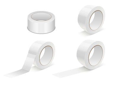 Realistic White 3d GlossyTape Roll Icon Set or Mock-up Closeup Isolated on White Background. Design Template of Packaging Sticky Tape Roll or Adhesive Tape for Mockup. Front View Ilustração