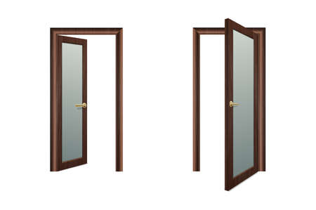 Vector Realistic Different Opened and Closed White Wooden Door Icon Set Closeup Isolated on Brown Background. Elements of Architecture. Design template of Classic Home Door for Graphics. Front View.