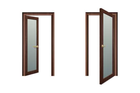 Vettore realistico diverso aperto e chiuso porta in legno bianco Icon Set Closeup isolati su sfondo marrone. Elementi di architettura. Modello di progettazione della porta di casa classica per la grafica. Vista frontale.