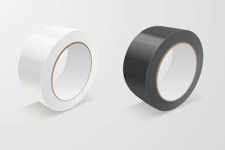 Realistic White and Black 3d Glossy Tape Roll Icon Set or Mock-up Closeup Isolated on White Background. Design Template of Packaging Sticky Tape Roll or Adhesive Tape for Mockup. Front View Standard-Bild - 121394075