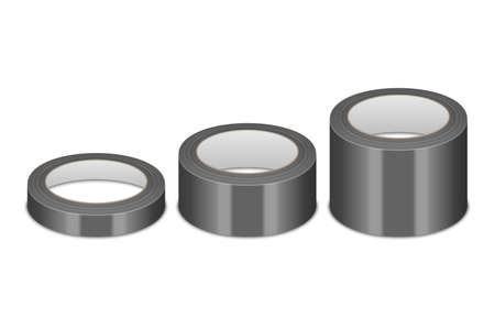 Realistic 3d Glossy Black Tape Roll Different Size - Small, Medium, Big - Set or Mock-up Closeup Isolated. Design Template of Packaging Sticky Tape Roll or Adhesive Tape for Mockup. Front View