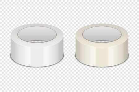 Realistic 3d Glossy Tape Roll Icon Set or Mock-up Closeup Isolated on Transparen Background. Design Template of Packaging Sticky Tape Roll or Adhesive Tape for Mockup. Front View