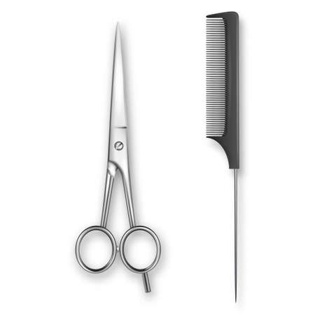 Vector Realistic 3d Classic Simple Scissors and Black Plastic Hairdresser s Comb Icon for Salon, Barbershop, Mock-up Closeup Isolated on White. Design Template of Hair Comb for Mockup. Top View.