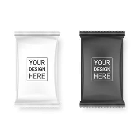 Vettore realistico 3d bianco e nero pacchetto di salviettine umidificate Icon Set Closeup isolati su sfondo bianco. Modello di progettazione di tovaglioli, cosmetici, alimenti, prodotti o altri imballaggi per Mockup. Vista dall'alto.