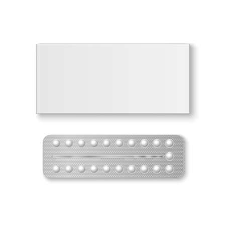 Vector Realistic Packaging of Birth Control Pills with Box Closeup Isolated. Contraceptive Pill, Hormonal pills. Design Template of Birth Control Pills for Mockup. Planning Pregnancy. Top View. 向量圖像