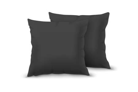 Vector Realistic 3d Black Pillow Set Closeup Isolated on White Background. Elements of Bedroom, Home, Hotel Decor. Design Template of Square Pillows for Graphics and Mockup. Front View.