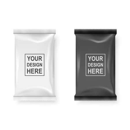 Vector 3d realista blanco y negro paquete de toallitas húmedas conjunto de iconos Closeup aislado sobre fondo blanco. Plantilla de diseño de servilletas, cosméticos, alimentos, productos u otros envases para maquetas. Vista superior.