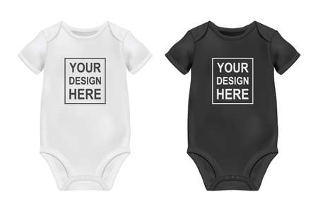 Vector Realistic White and Black Blank Baby Bodysuit Template, Mock-up Closeup Isolated on White. Front and Back Side. Body children, baby shirt, onesie. Accessories, clothes for newborns. Top view.