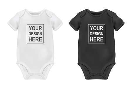 Vektor-realistische weiße und schwarze leere Baby-Body-Vorlage, Mock-up-Nahaufnahme, isoliert auf weiss. Vorder- und Rückseite. Körperkinder, Babyhemd, Strampler. Accessoires, Kleidung für Neugeborene. Ansicht von oben. Vektorgrafik