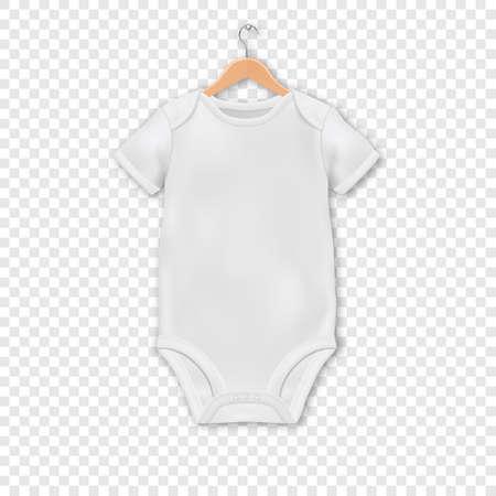 Vektor-realistische weiße leere Baby-Body-Vorlage, Mock-up hängt an einem Aufhänger Closeup auf transparentem Hintergrund isoliert Körper Kinder, Baby-Shirt, Onesie. Zubehör, Lothes für Neugeborene.