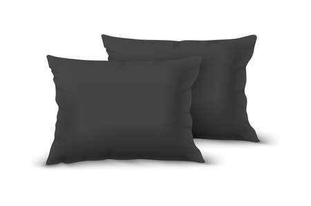 Vector Realistic 3d Black Pillow Set Closeup Isolated on White Background. Elements of Bedroom, Home, Hotel Decor. Design Template of Rectangular Euro Pillows for Graphics and Mockup. Front view.