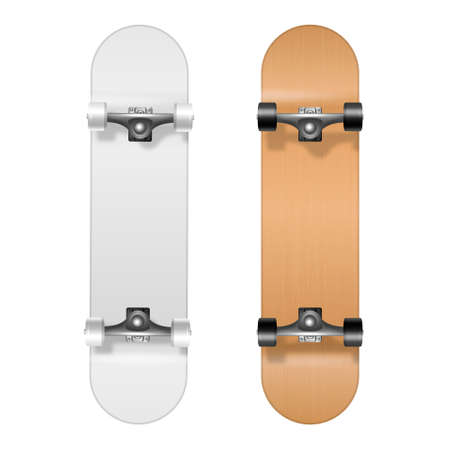 Skateboarding. Vector Realistic 3d White and Wooden Blank Skateboard Icon Set Closeup Isolated on White Background. Design Template of Skate Board Showing the Bottom for Mockup. Top view. 向量圖像