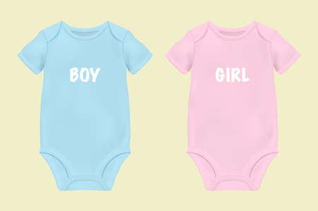 Realistische blaue und rosa leere Babybody-Vorlage, Mock-up-Nahaufnahme, isoliert auf weiss.