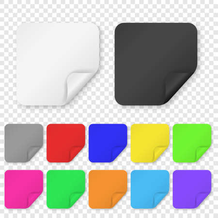 Vector Realistic 3d Square Adhesive Colored Blank Paper Sticker Icon Set Closeup Isolated on Transparent Background. Design Template of Paper Banners for Mockup, Price Tags, Labels.