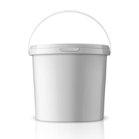 Vector Realistic 3d White Plastic Bucket for Food Products, Paint, Foodstuff, Adhesives, Sealants, Primers, Putty Isolated on White Background. Design Template of Packagin for Mockup. Front view.